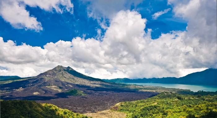 Landscape of Batur volcano on Bali island, Indonesia