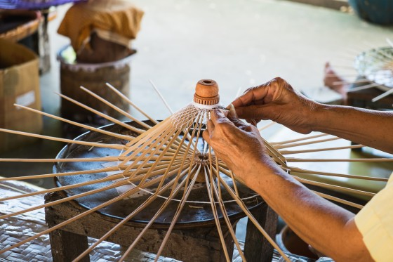 Umbrella making vintage style in Chiang mai, Thailand